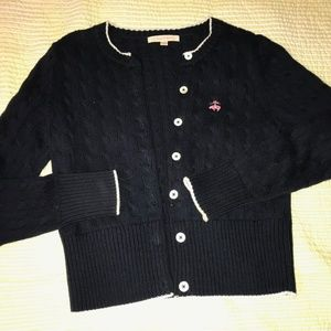 Brooks Brothers womens cable knit navy cardigan
